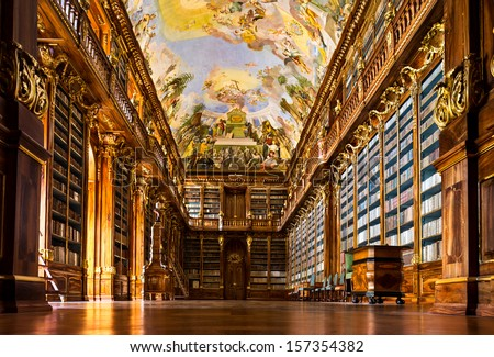 Historical library of Strahov Monastery in Prague, Philosophical Hall - stock photo
