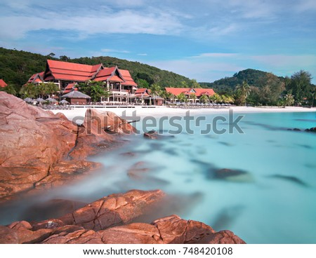 Holiday Cottages Clear Water Tropical Beach In Pulau Redang Malaysia