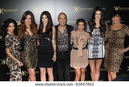 8-17-11 - Hollywood, CA - Khloe Kardashian, Kylie Jenner, Kris Jenner, Kourtney Kardashian, Kim Kardashian, Kendall Jenner. Kardashian Kollection Launch Party at The Colony. By: Russ Elliot/AdMedia - stock photo