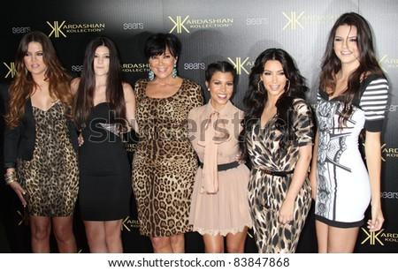 8-17-11 - Hollywood, CA - Khloe Kardashian, Kylie Jenner, Kris Jenner, Kourtney Kardashian, Kim Kardashian, Kendall Jenner. Kardashian Kollection Launch Party at The Colony. By: Russ Elliot/AdMedia - stock photo