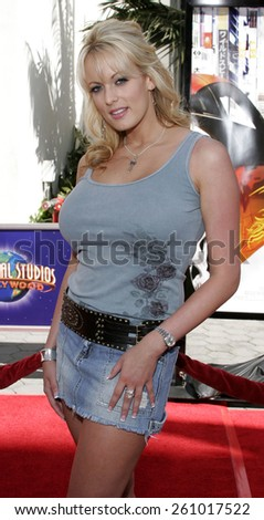"06/04/2006 - Hollywood - Stormy Daniels attends the Los Angeles Premiere of ""The Fast and the Furious: Tokyo Drift"" held at the Universal Studios in Hollywood, California, United States.  - stock photo"
