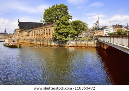 Holmens Kirke and canals of Copenhagen. Denmark - stock photo