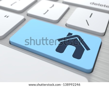 """Home"" Blue Button on  Modern Computer Keyboard. 3D Render. - stock photo"