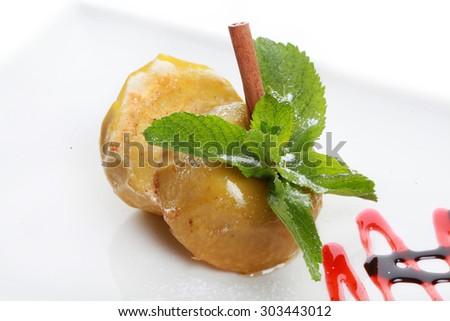 homemade oven baked apples stuffed   - stock photo
