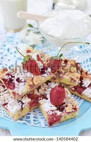 homemade strawberry pie with cream - stock photo