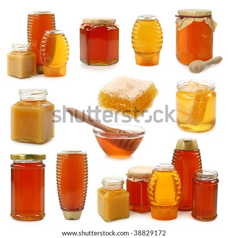 Honey collection isolated on white background - stock photo