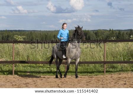 Horseback riding - stock photo