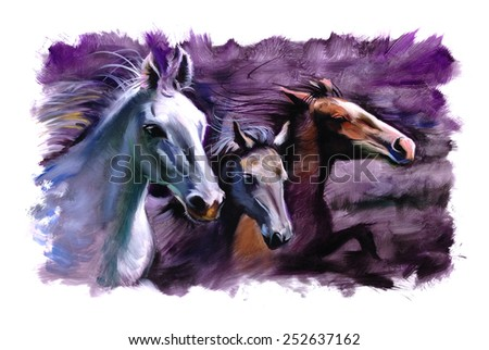3 Horses purple speed racing painting - stock photo