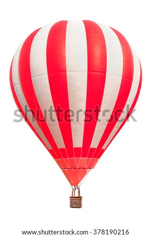 Hot air balloon with basket isolate on white background with clipping path - stock photo