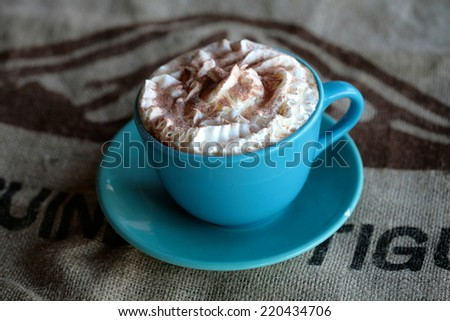 Hot chocolate drink with whipped cream topping - stock photo