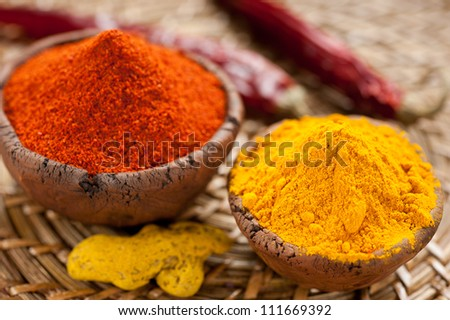 Hot red chili pepper and turmeric in clay bowls - stock photo