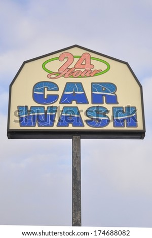 24 Hour Car Wash sign - stock photo