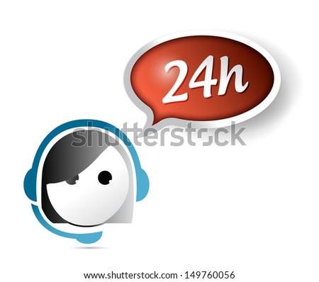 24 hour customer support illustration design over white - stock photo