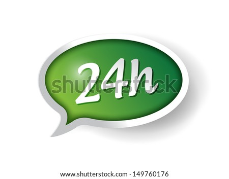 24 hour support message bubble illustration design over white - stock photo