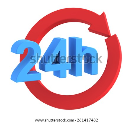 24 hours delivery sign. Computer generated 3D photo rendering. - stock photo