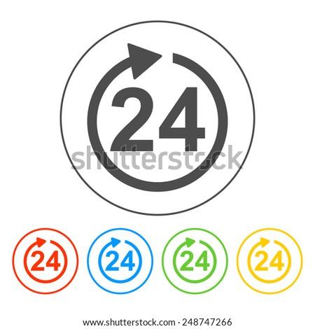 24 hours icon. Flat  - stock photo