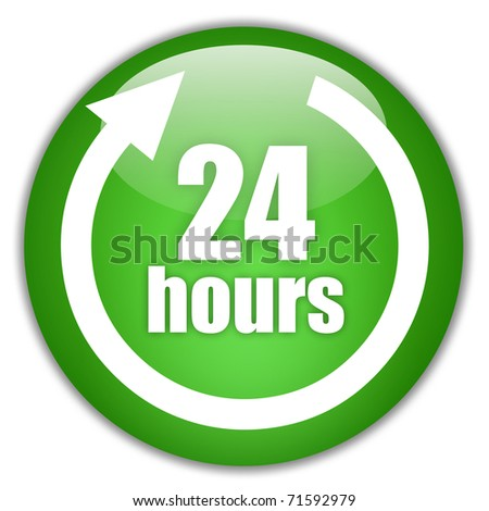 24 hours service green logo - stock photo