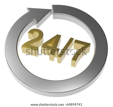24 hours seven days a week sign over white. Computer generated 3D photo rendering. - stock photo