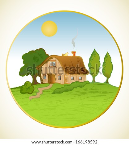 house background. cartoon home and tree