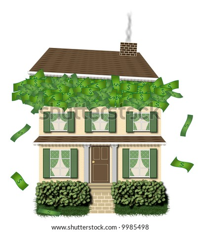 house overflowing with money - stock photo