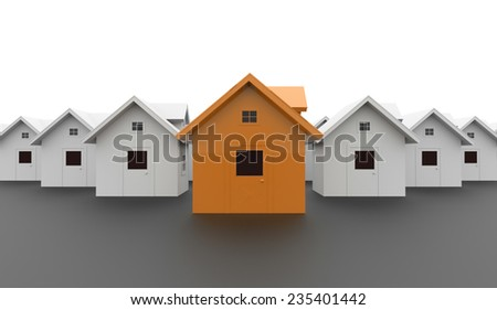 Houses business concept one is orange - stock photo
