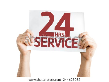 24 Hrs Service card isolated on white background - stock photo