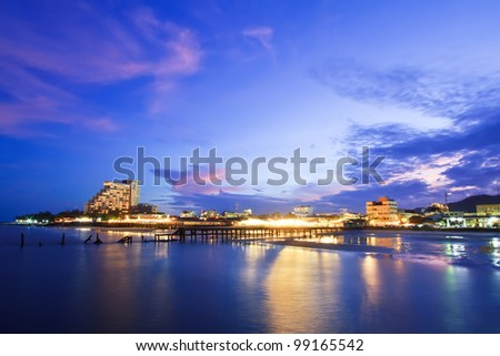 Hua Hin city in twilight, Thailand - stock photo