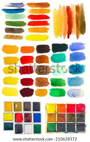 huge collection of artistic strokes with watercolors - stock photo