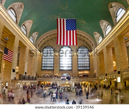 (Huge Picture) View of Grand Central Terminal in New York City - stock photo