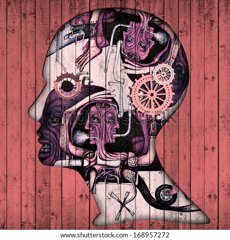 human head with pink gears and drawings - stock photo