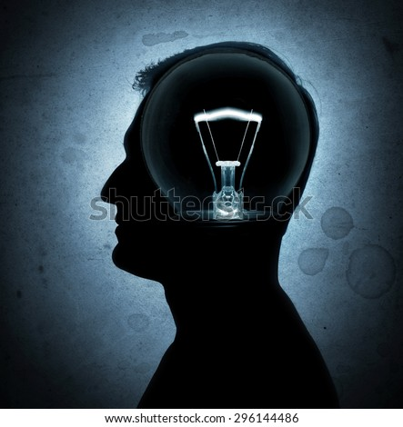 Human heads with Bulb symbol Business and science concepts. - stock photo