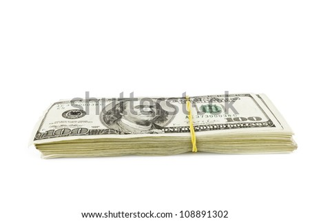 hundred dollar stack over white background - stock photo