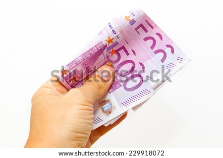 500 hundrets euro bank notes in the hand - stock photo