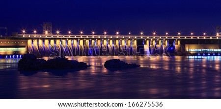 Hydroelectric Station/ power station / dam on the Dniper River, Zaporizhia, Ukraine. View from Khortytsa island