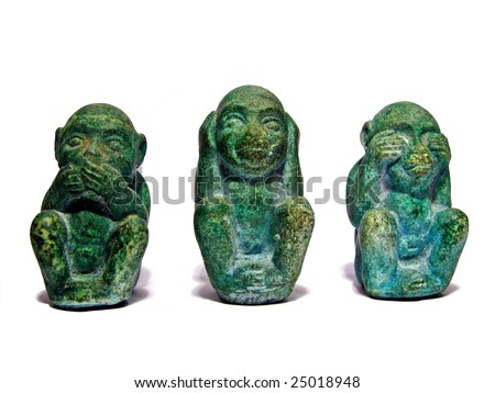 """I don't speak, I don't hear, I don't see"" - Three monkeys covering mouth, ears and eyes - stock photo"