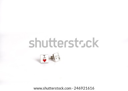 """i love my wife"" cufflinks - stock photo"