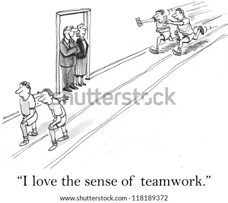 """I love the sense of teamwork."" - stock photo"