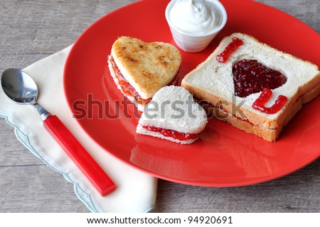 'I love you' breakfast - stock photo