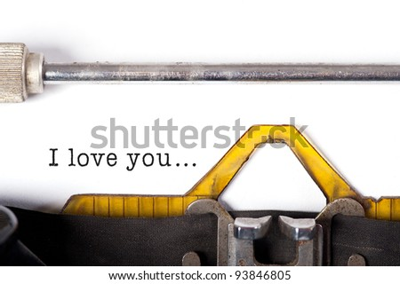 """I love you"" message typed by vintage typewriter. - stock photo"