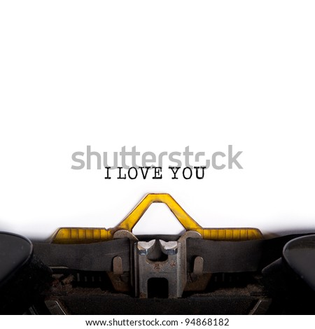 """""""I LOVE YOU"""" message typed by vintage typewriter. - stock photo"""
