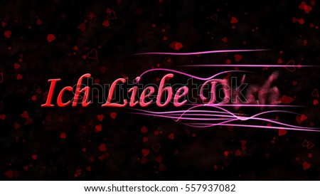 """I Love You"" text in German ""Ich Liebe Dich"" turns to dust horizontally from right with moving stripes on black background with hearts and roses"
