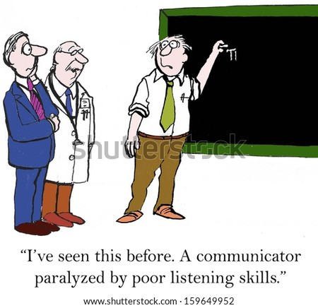 """I've seen this before. A communicator paralyzed."" - stock photo"