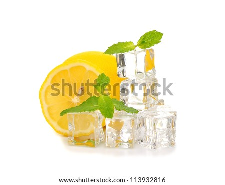 Ice, lemon and mint isolated on white background - stock photo