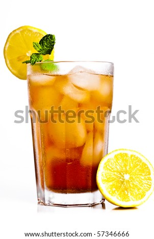 Iced tea with lemon isolated on white - stock photo