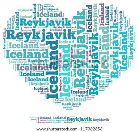 Iceland info-text graphics and arrangement concept on white background (word cloud)