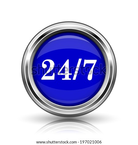 24 7 icon. Shiny glossy internet button on white background.  - stock photo