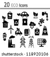 20 Icons - ecology and industry - stock vector