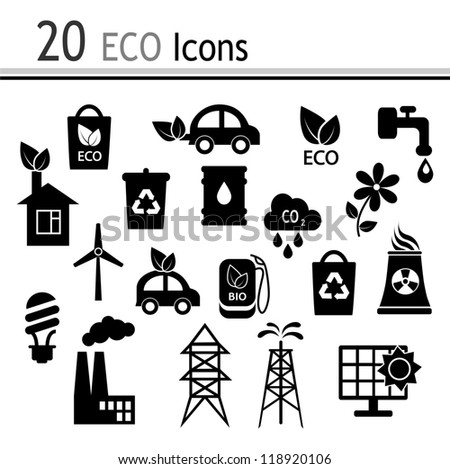 20 Icons - ecology and industry - stock photo