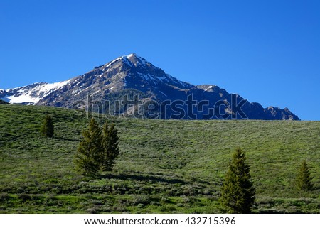 Idaho's Boulder Mountains are seen between Galena Summit and the Ketchum/Sun Valley area of the Wood River Valley.                               - stock photo