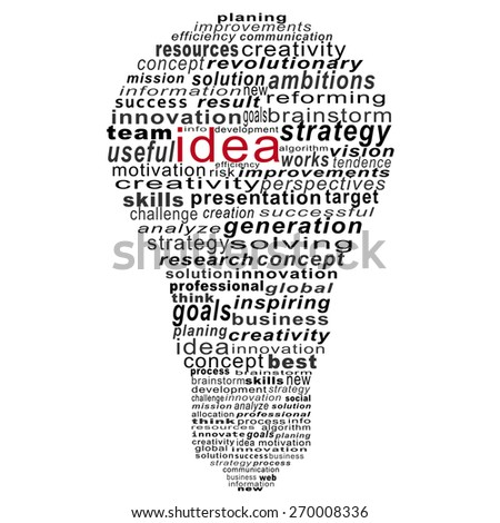 idea text collage Composed in the shape of bulb on white background - stock photo